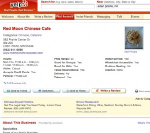 Screen Grab of Red Moon's Yelp page