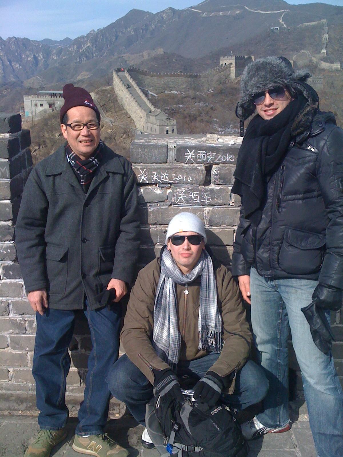 Tat, Alex and Justin Kwan atop the Great Wall of China at Mu Tian Yu.